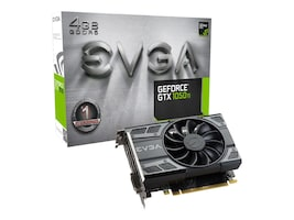 eVGA GeForce GTX 1050 Ti PCIe 3.0 x16 Graphics Card, 4GB GDDR5, 04G-P4-6251-KR, 33062654, Graphics/Video Accelerators