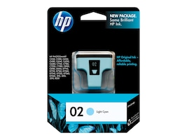 HP 02 (C8774WN) Light Cyan Original Ink Cartridge, C8774WN#140, 7885446, Ink Cartridges & Ink Refill Kits - OEM