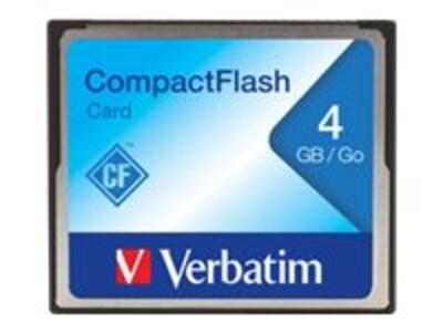 Verbatim 4GB CompactFlash Card, 95188, 5794161, Memory - Flash