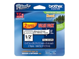 Brother 1 2 M2312PK Black on White Labels (2 Rolls), M2312PK, 10670446, Paper, Labels & Other Print Media