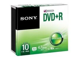 Sony DVD+R Media (10-pack Slim Jewel Cases), 10DPR47SS, 30710994, DVD Media