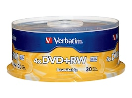 Verbatim 4x 4.7GB DVD+RW Branded Media (30-pack Spindle), 94834, 5205961, DVD Media
