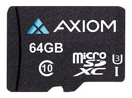 Axiom 64GB MicroSDXC UHS-I U3 Flash Memory Card, Class 10, MSDXC10U364-AX, 35524681, Memory - Flash