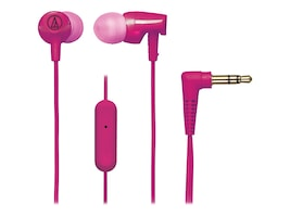 Audio-Technica SonicFuel In Ear Headphones w  Inline Controls & Mic - Pink, ATH-CLR100ISPK, 33218444, Headsets (w/ microphone)
