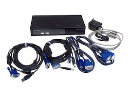 Connectpro 2-Port USB VGA KVM Switch w  DDM 2-Monitor Support for Multi-Displays, UVV-12-PLUS-KIT, 18111876, KVM Switches