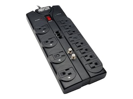 Tripp Lite Protect It! Surge Protector 2880 Joules (12) Outlets 8ft Cord Telephone, TLP1208TELTV, 10967055, Surge Suppressors