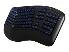Adesso Tru-Form 150 3-Color Illuminated Ergonomic USB Keyboard, AKB-150EB, 17736866, Keyboards & Keypads