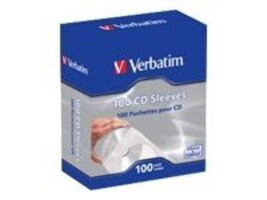 Verbatim CD DVD Paper Sleeves w  Clear Window (100-pack), 49976, 31917065, Media Storage Cases