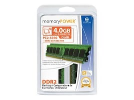 Centon Electronics 4GB PC2-5300 667MHz 240-pin Non-ECC Unbuffered DDR2 SDRAM DIMM Kit, 4GBDDR2KIT667, 7887687, Memory