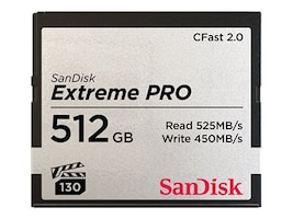 SanDisk 512GB Extreme PRO CFast 2.0 Memory Card, SDCFSP-512G-A46D, 35397749, Memory - Flash