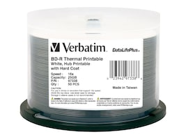Verbatim 6x 25GB DataLifePlus White Thermal Hub Printable BD-R Media (50-pack Spindle), 97338, 12016296, Blu-Ray Media