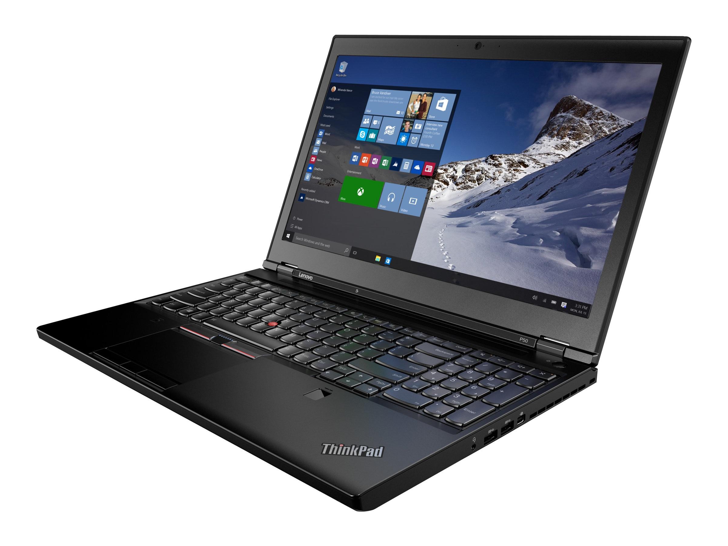 Lenovo TopSeller ThinkPad P50 Core i7-6700HQ 2.6GHz 8GB 500GB ac BT FR 6C M1000M 15.6 FHD W7P64-W10P, 20EN0013US, 30922364, Workstations - Mobile