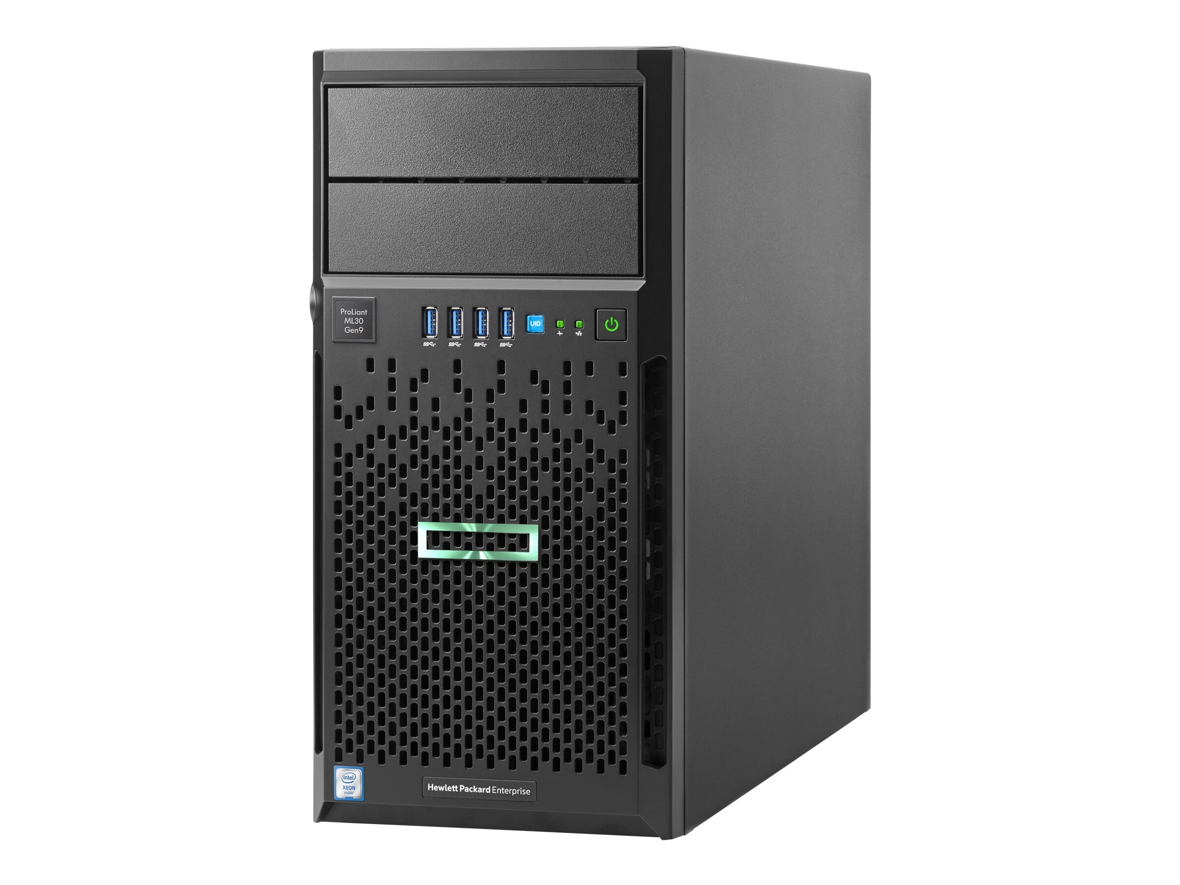 HPE ProLiant ML30 Gen9 Tower Xeon QC E3-1220 v5 3.0GHz 4GB 1TB 4x3.5 NHP Bays B140i DVD-RW 2xGbE 350W, 831064-S01, 31936590, Servers