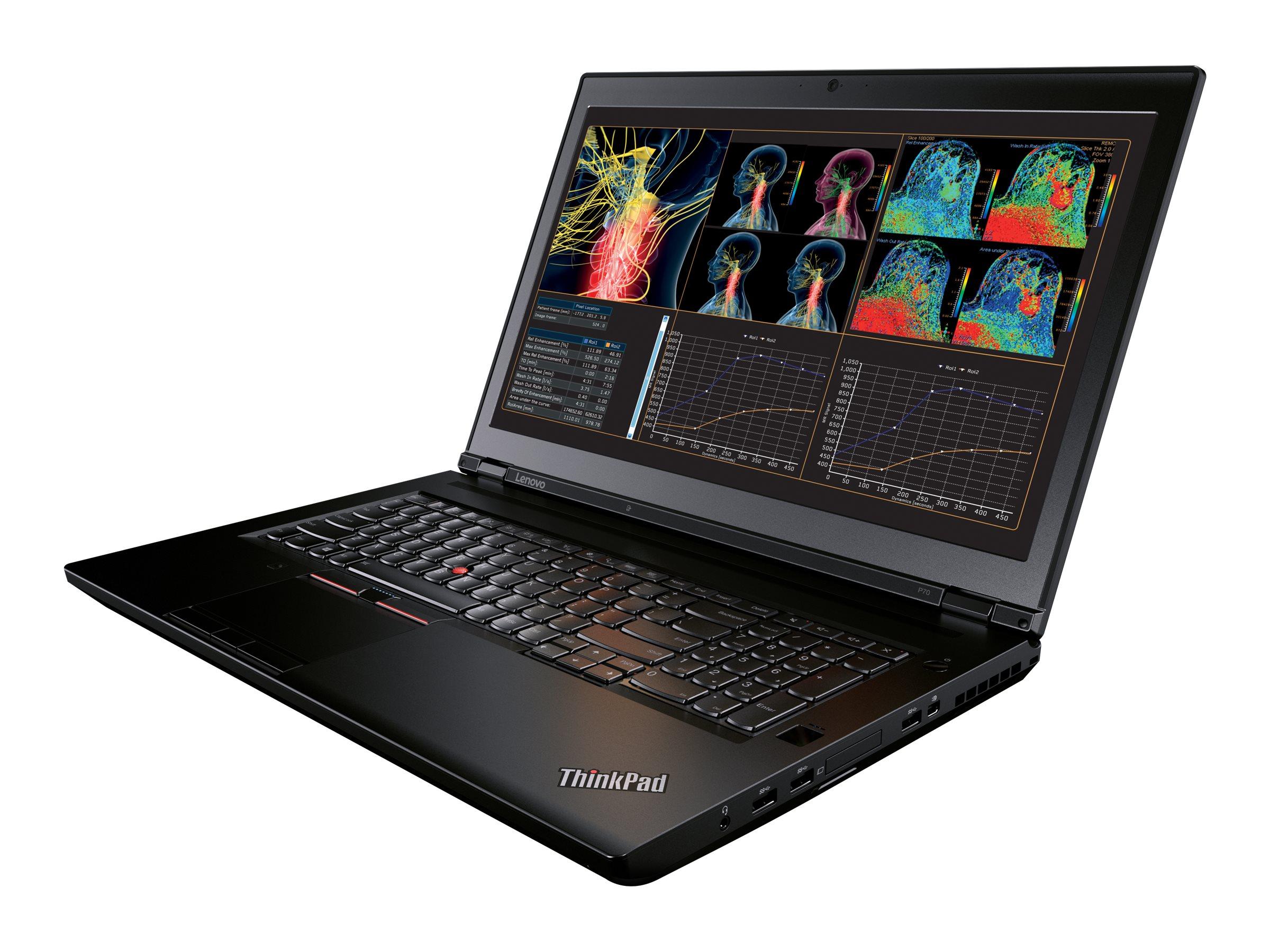 Lenovo TopSeller ThinkPad P70 Core i7-6700HQ 2.6GHz 16GB 500GB DVD SM ac BT FR WC M600M 17.3 FHD W7P64-W10, 20ER002KUS, 30817601, Workstations - Mobile