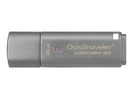 Kingston 8GB DataTraveler Locker+ G3 USB 3.0 Flash Drive, DTLPG3/8GB, 16673496, Flash Drives