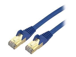 StarTech.com CAT6a 10 GbE Shielded Snagless RJ45 100W PoE Ethernet Patch Cable, Blue, 1ft, C6ASPAT1BL, 10147111, Cables