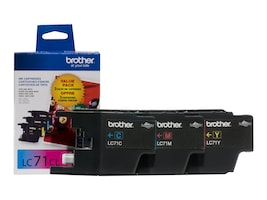 Brother Innobella LC71 Color Ink Cartridges (3-pack of Cyan, Magenta & Yellow), LC713PKS, 13261541, Ink Cartridges & Ink Refill Kits
